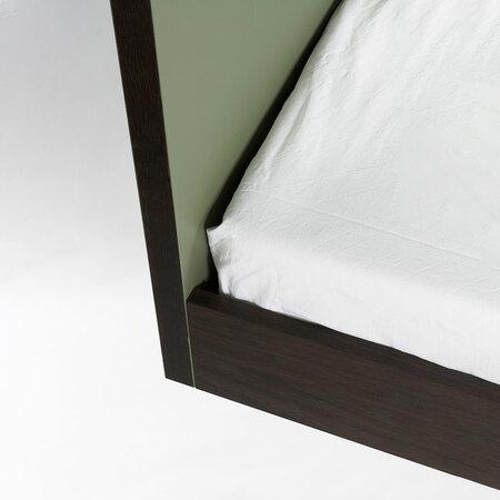 Bett Unidorm in Olivegrün mit Kopfteil