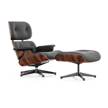 'Eames' Lounge Chair und Ottoman in Santos Palisander Leder Premium F