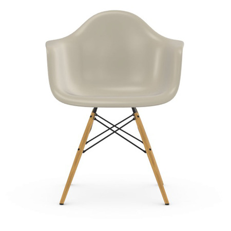 Vitra Eames Plastic Armchair DAW ohne Polster  Holzuntergestell Ahorn gelblich / 02,  Kieselstein / 11,  Schwarzer Gleiter für Hartböden