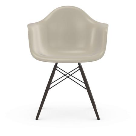 Vitra Eames Plastic Armchair DAW ohne Polster  Holzuntergestell Ahorn schwarz / 30,  Kieselstein / 11,  Schwarzer Gleiter für Hartböden