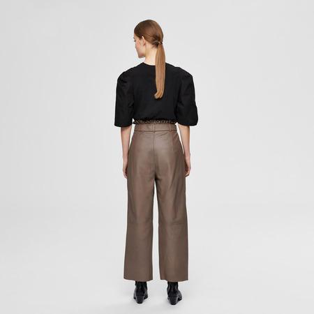 'Paperbag'-Lederhose in Braun