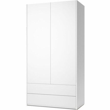 Müller Möbelwerkstätten 2-türiger Schrank 'Modular Plus'  Mit 2 Schubladen,  Weiss Melamin,  Weiss
