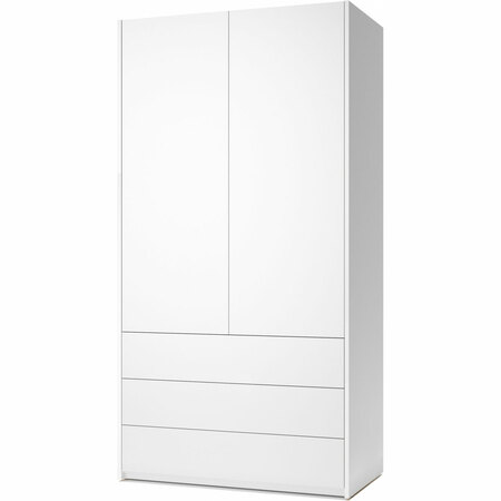 Müller Möbelwerkstätten 2-türiger Schrank 'Modular Plus'  Mit 3 Schubladen,  Weiss Melamin,  Weiss