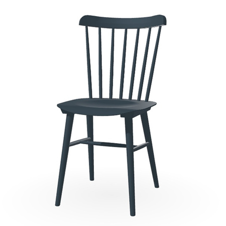 Ton Stuhl im Retro-Stil für den Esstisch  Eiche Pigmentiert Ozean Blau (B 37),  Helle Kunststoffgleiter