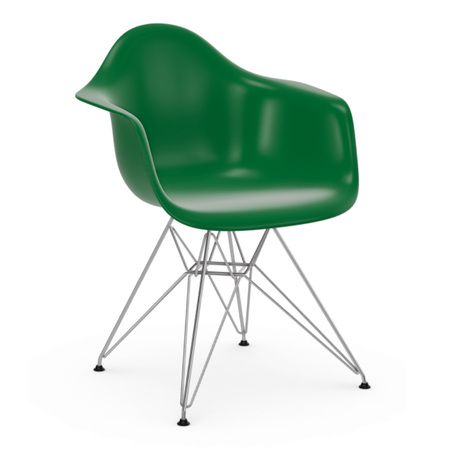 Vitra Eames Plastic Armchair ohne Polster  Drahtuntergestell basic dark pulverbeschichtet / 30,  Rostorange / 43,  Schwarzer Gleiter für Teppichböden