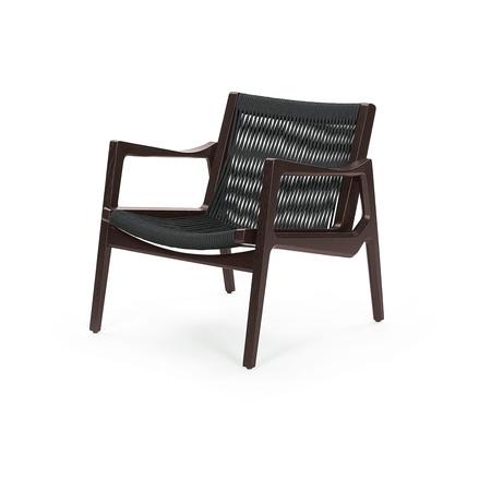 Classicon Lounger 'Euvira'  Eiche braun,  Kordeln in schwarz,  Kunststoffgleiter