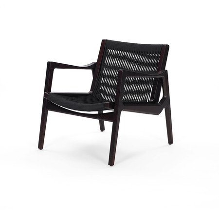 Classicon Lounger 'Euvira'  Eiche schwarz,  Kordeln in schwarz,  Filzgleiter