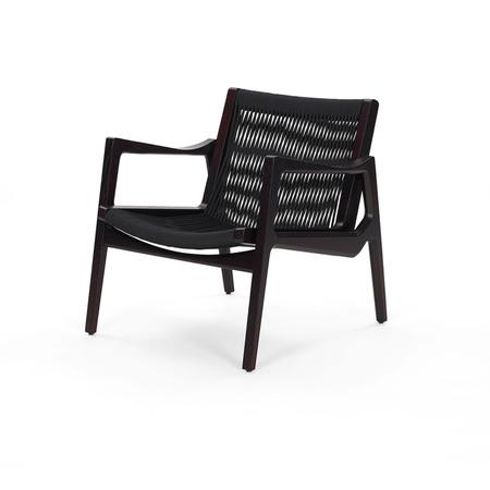 Classicon Lounger 'Euvira'  Eiche schwarz,  Kordeln in schwarz,  Kunststoffgleiter