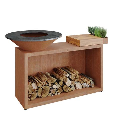 Ofyr Grill-Outdoorkücheninsel 'Cooking Unit Island' Ø: 85 cm, Corten-Stahl, Teakholz