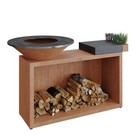 Ofyr Grill-Outdoorkücheninsel 'Cooking Unit Island' Ø: 85 cm - Ofyr 85, Corten-Stahl, Dunkelgraues Keramik