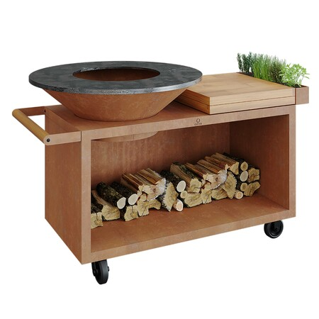 Ofyr Grill-Outdoorkücheninsel 'Cooking Unit Island Pro' Schwarz beschichteter Stahl, Teakholz