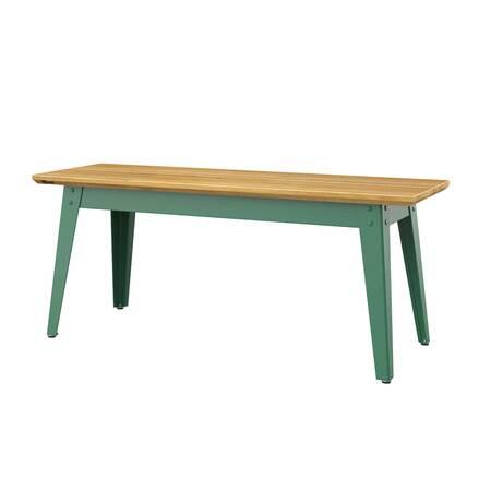 Jan Cray 6Grad Bank Eichenholz, B: 36 cm / L: 120 cm / H: 40 cm, Spindgrün