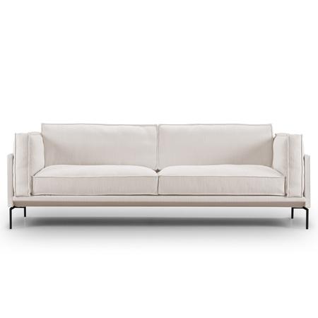 Eilersen Sofa 'Slimline' Hellgrau 20 - Gravel, B: 240 cm, Schwarz lackierter Edelstahl