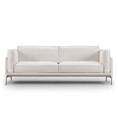 Eilersen Sofa 'Slimline' Hellgrau 20 - Gravel, B: 220 cm, Gebürsteter Edelstahl