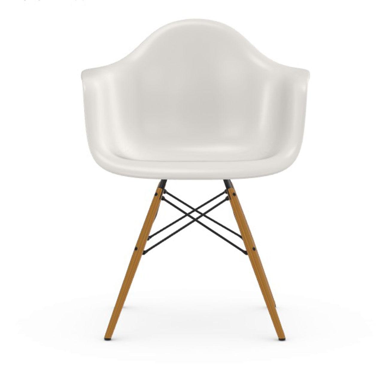 Vitra Eames Plastic Armchair DAW ohne Polster  Holzuntergestell Esche Honigfarben / 65,  Weiss / 04,  Schwarzer Gleiter für Hartböden