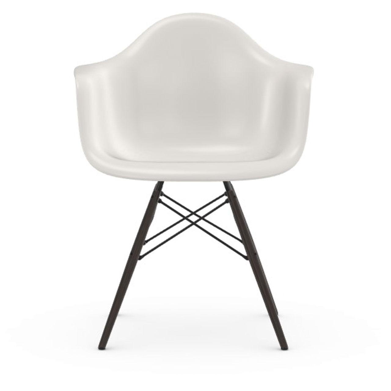 Vitra Eames Plastic Armchair DAW ohne Polster  Holzuntergestell Ahorn schwarz / 30,  Weiss / 04,  Schwarzer Gleiter für Hartböden