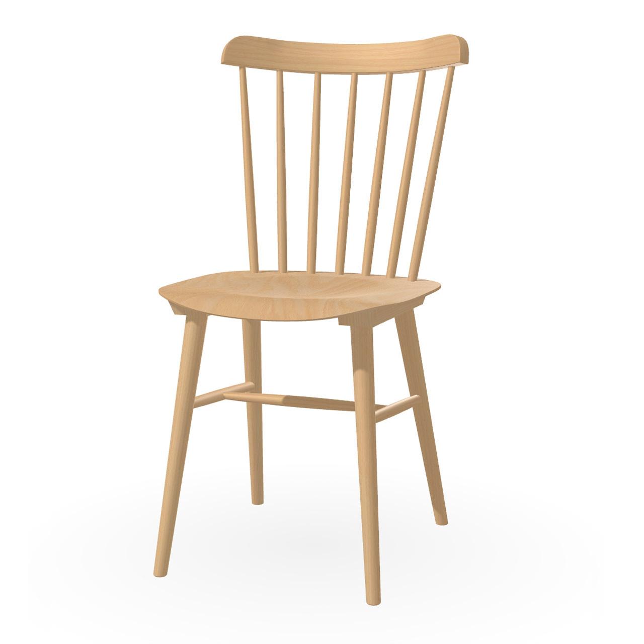 Ton Stuhl im Retro-Stil für den Esstisch  Eiche Natural geölt,  Helle Kunststoffgleiter