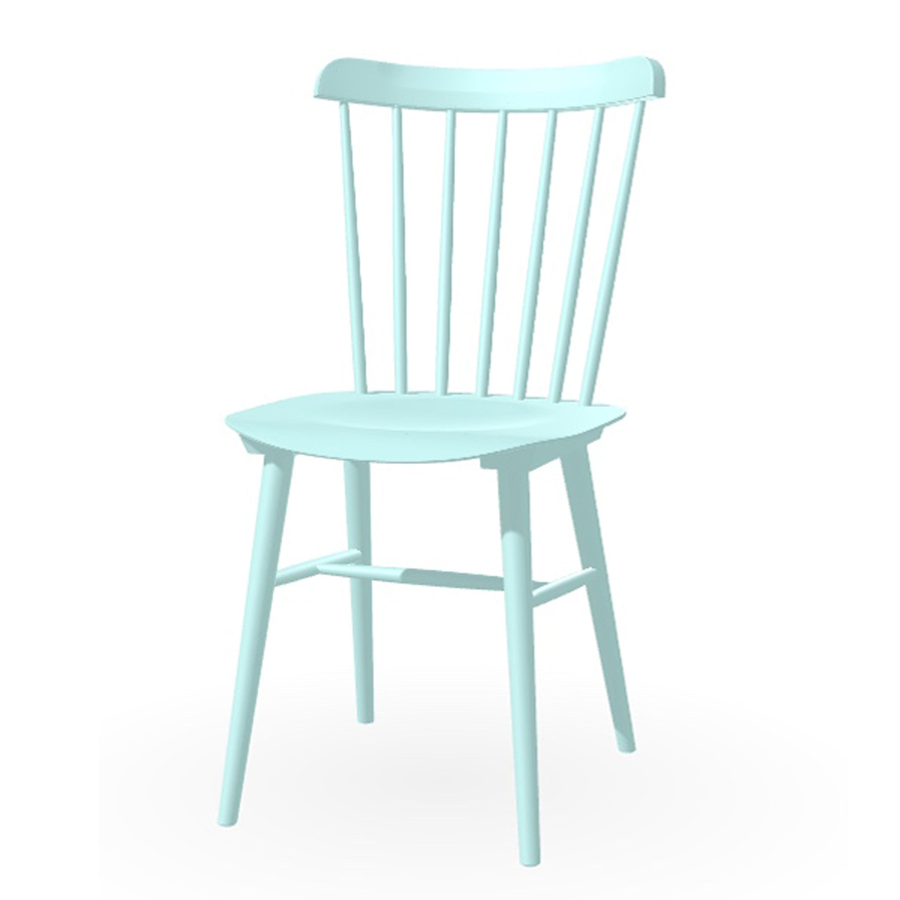 Ton Stuhl im Retro-Stil für den Esstisch  Eiche Pigmentiert Aqua Grün (B 45),  Helle Kunststoffgleiter