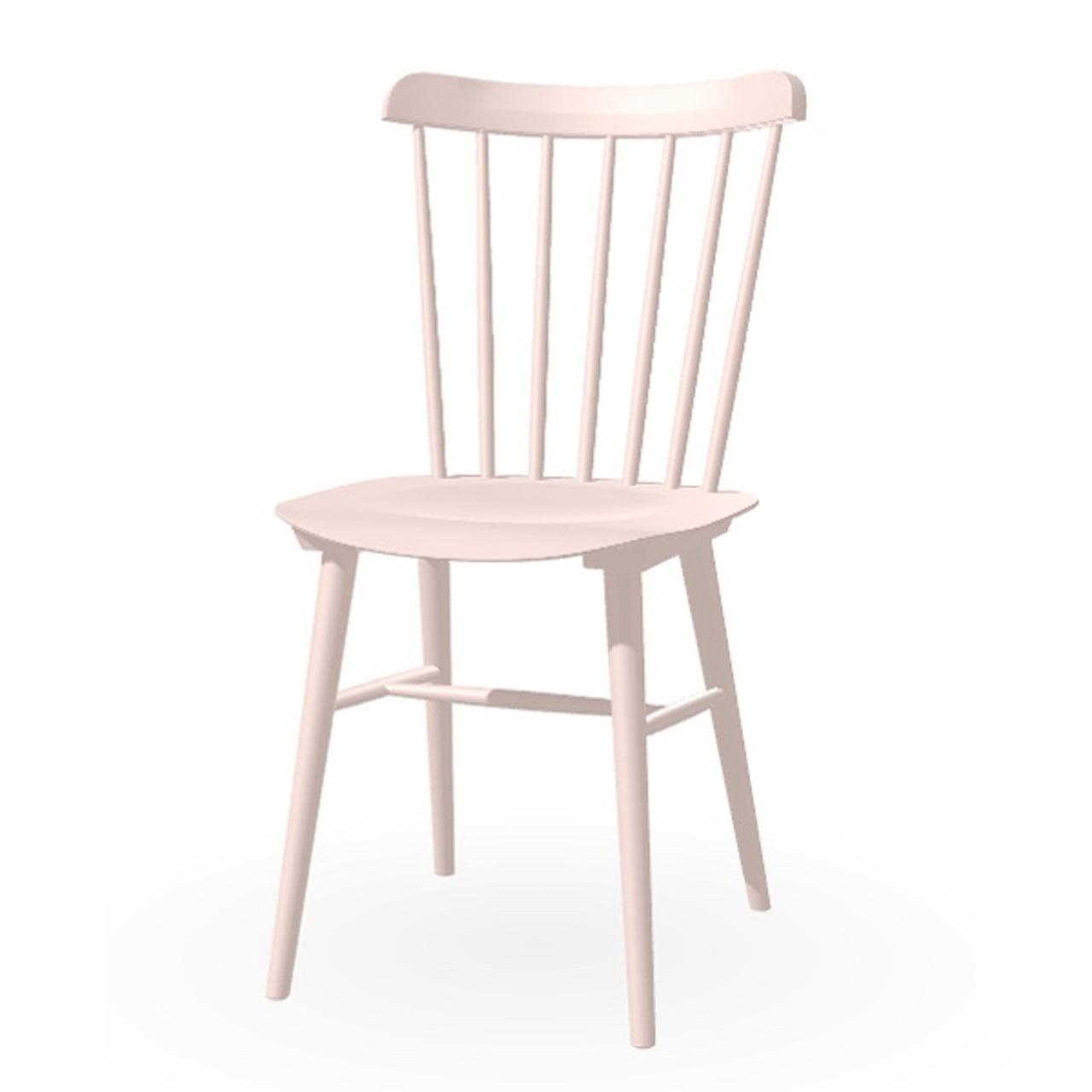 Ton Stuhl im Retro-Stil für den Esstisch  Eiche Pigmentiert Hellrosa (B 40),  Helle Kunststoffgleiter