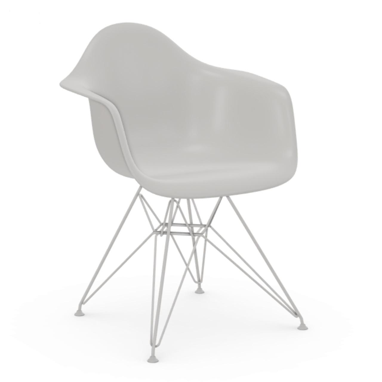 Vitra Eames Plastic Armchair ohne Polster  Drahtuntergestell weiss pulverbeschichtet / 04,  Weiss / 04,  Weisser Gleiter für Teppichböden