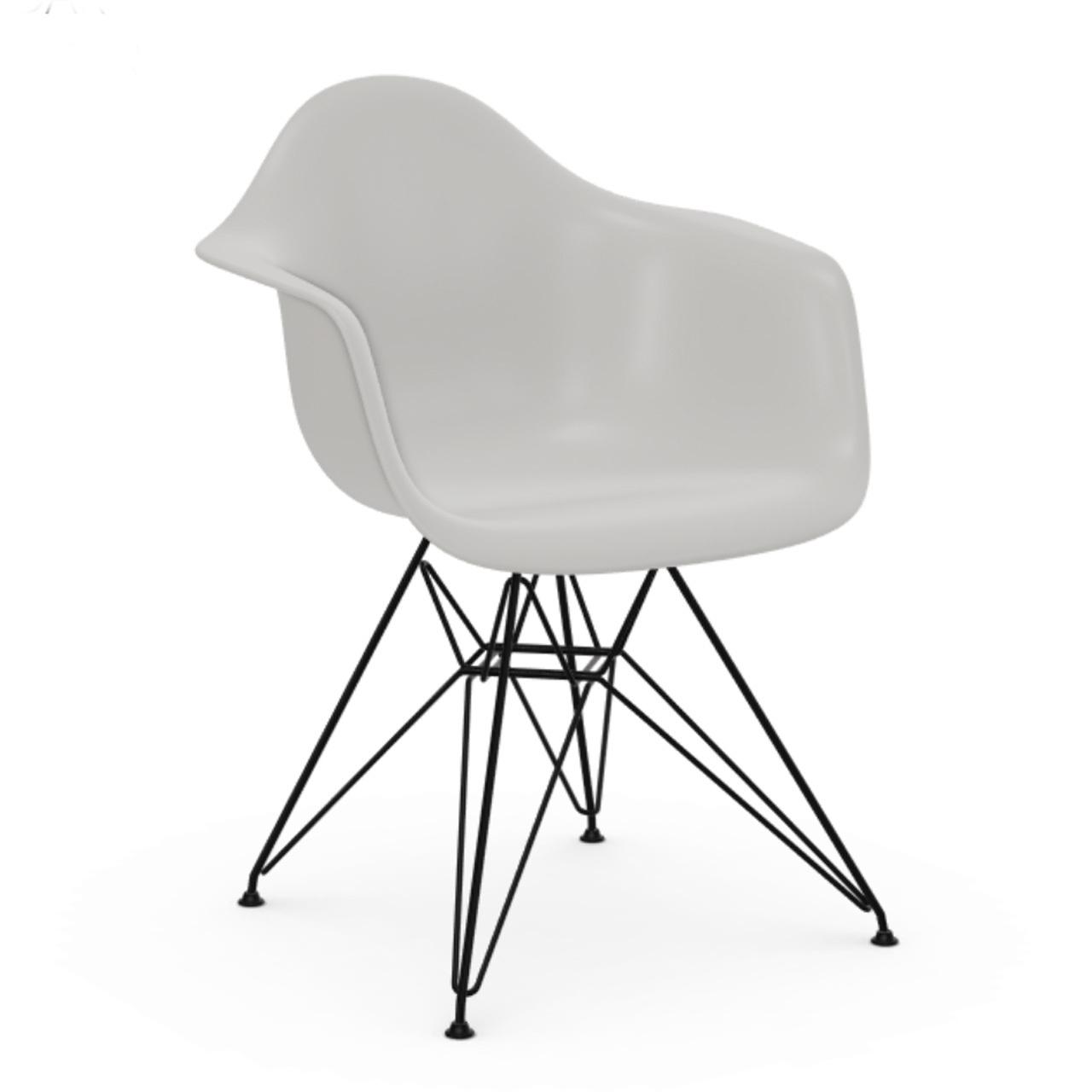 Vitra Eames Plastic Armchair ohne Polster  Drahtuntergestell basic dark pulverbeschichtet / 30,  Weiss / 04,  Schwarzer Gleiter für Teppichböden