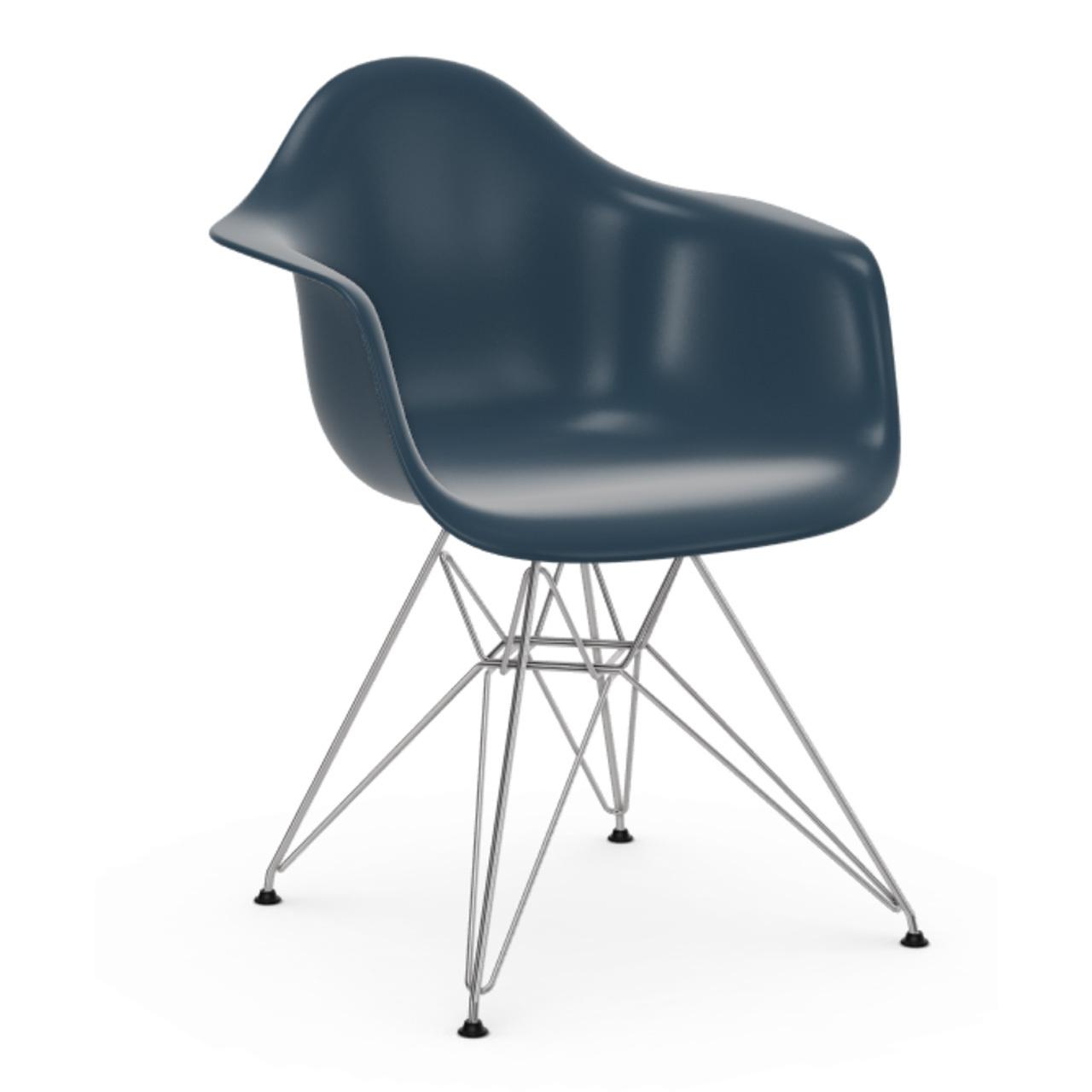 Vitra Eames Plastic Armchair ohne Polster  Drahtuntergestell glanzchrom / 01,  Meeresblau / 83,  Schwarzer Gleiter für Teppichböden