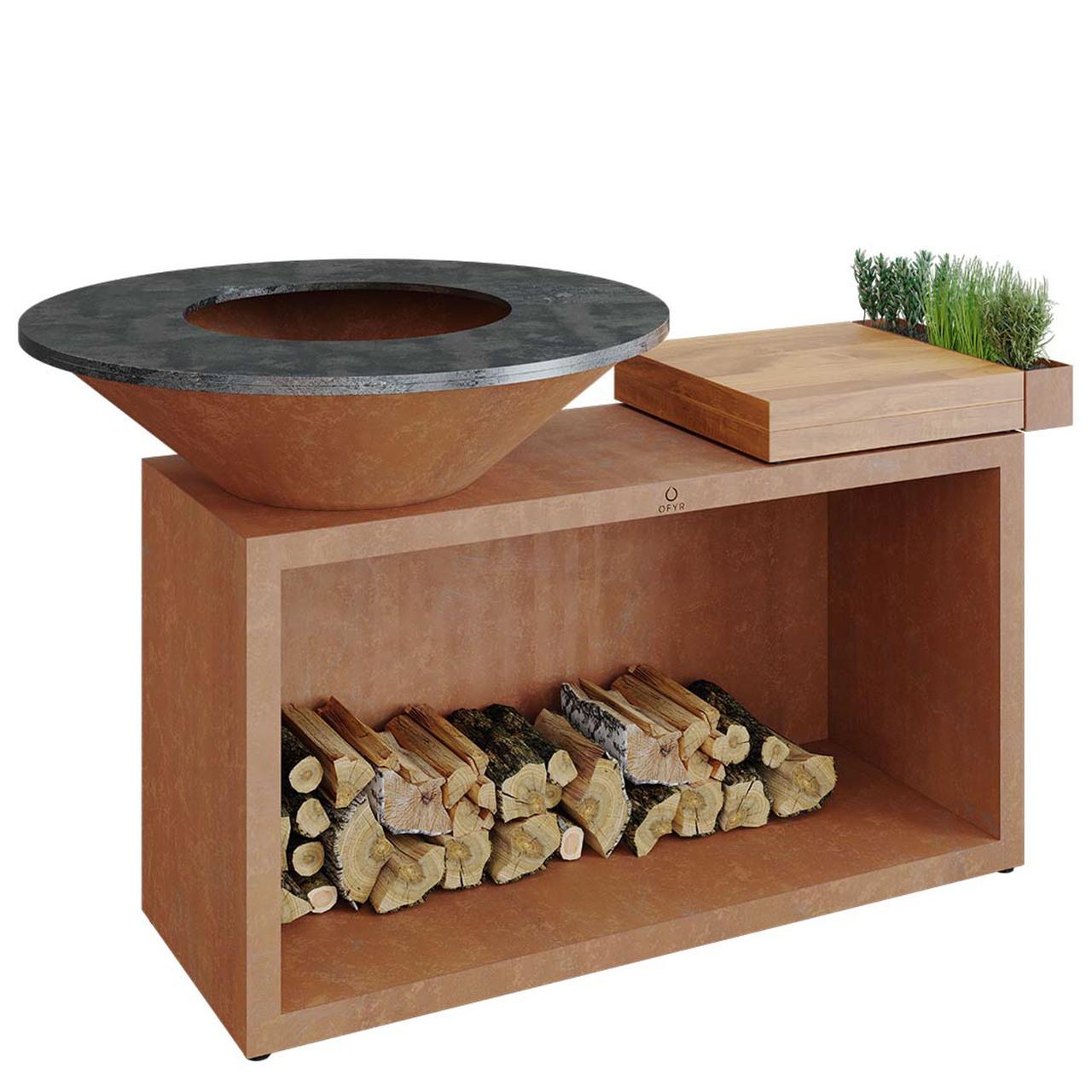 Ofyr Grill-Outdoorkücheninsel 'Cooking Unit Island' Ø: 98 cm, Corten-Stahl, Teakholz