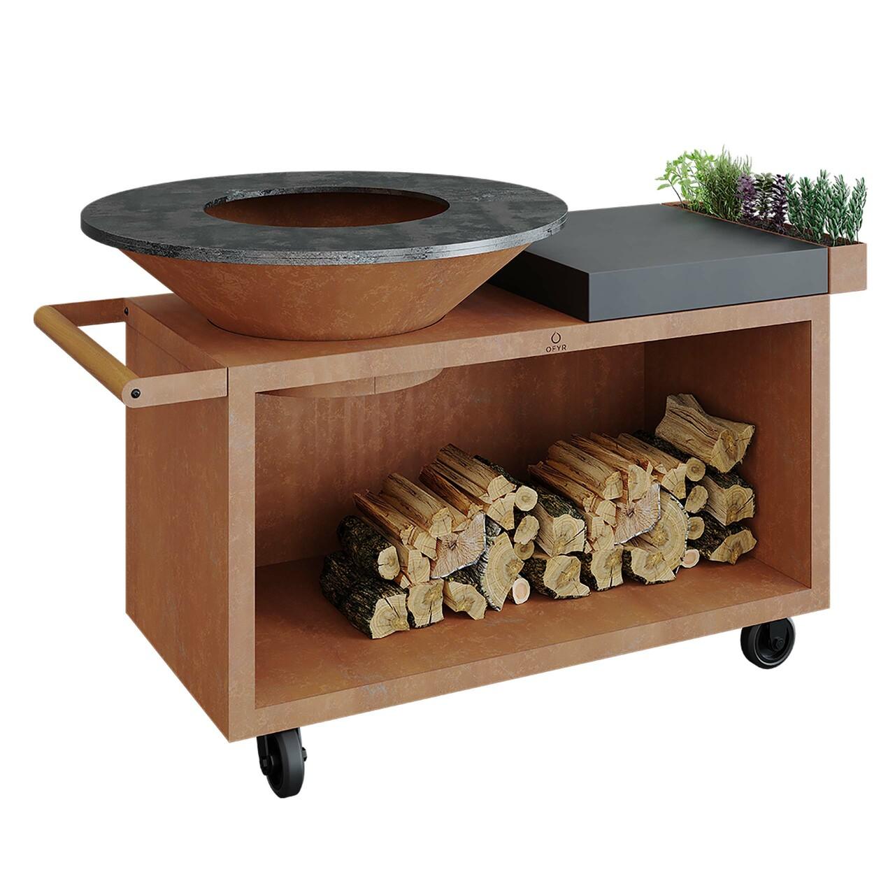 Ofyr Grill-Outdoorkücheninsel 'Cooking Unit Island Pro' Schwarz beschichteter Stahl, Dunkelgraues Keramik