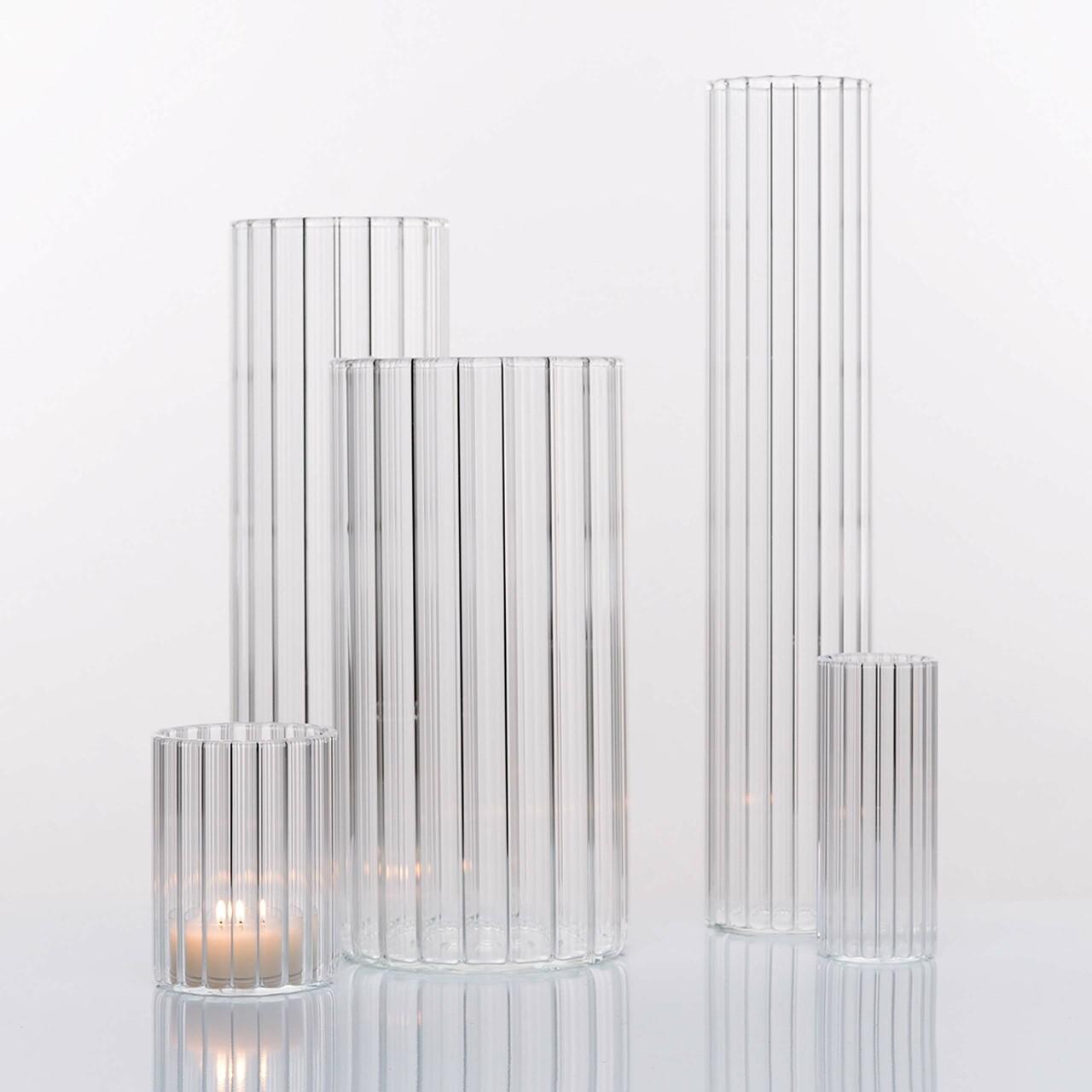 4er Vasenset aus gewelltem Borosilikatglas