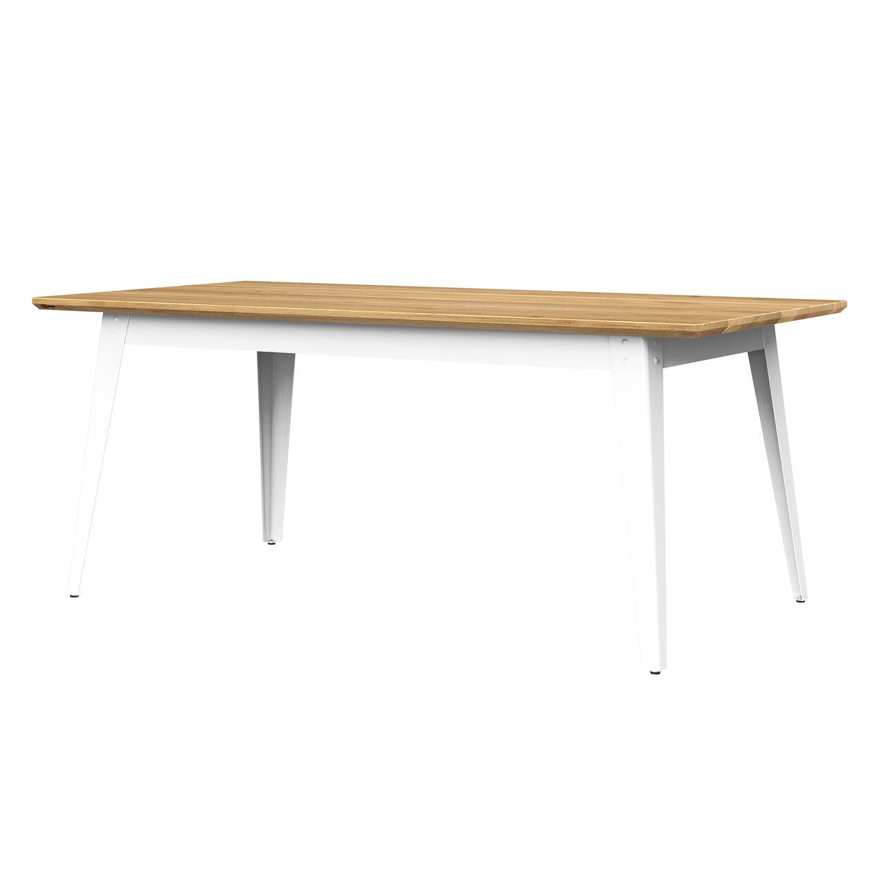Jan Cray 6Grad Tisch Holz Weiss, Eichenholz geölt, B: 70 cm / L: 120 cm