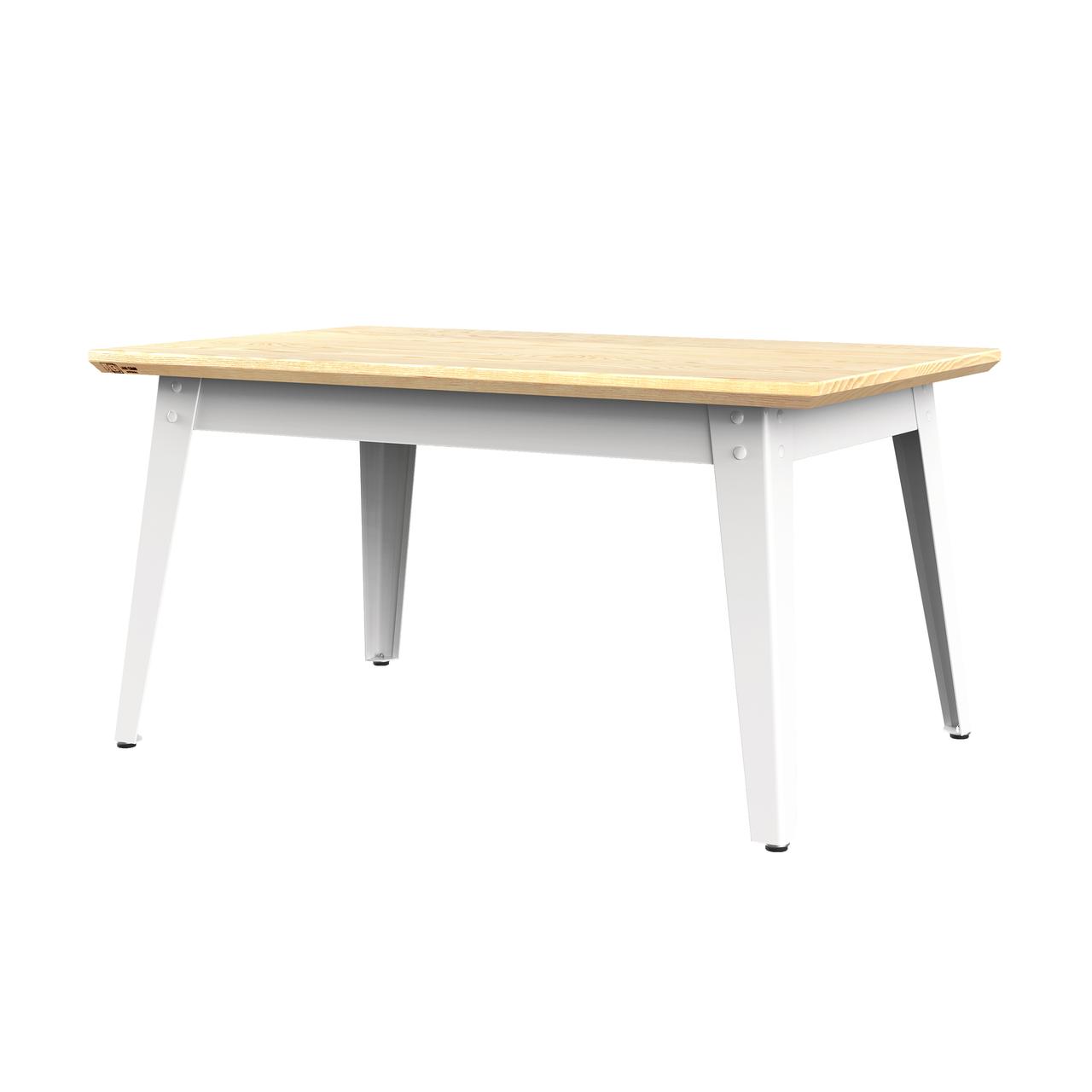 Jan Cray 6Grad Couchtisch Holz Weiss, Eschenholz geölt, B: 55 cm / L: 90 cm / H: 46 cm