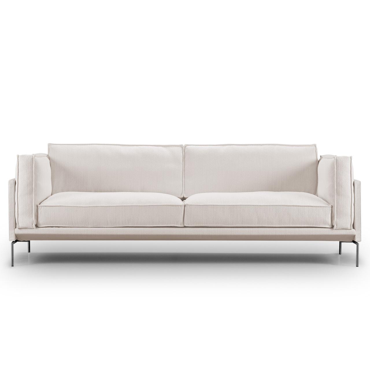 Eilersen Sofa 'Slimline' Hellgrau 20 - Gravel, B: 240 cm, Gebürsteter Edelstahl