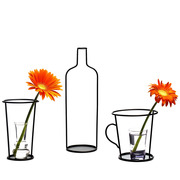 3er Set 'Thin Black Vase'