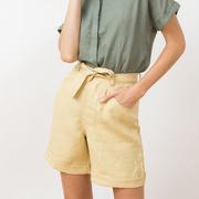 Leinen-Shorts von 'Jungle Folk' in Straw