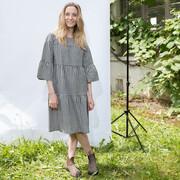 Tolles Baumwoll-Kleid mit Vichy in Schwarz/Weiss