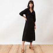 Nachhaltiges Leinen-Wickelkleid in Black
