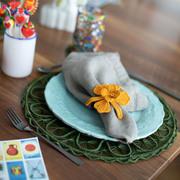 Geflochtenes Tischset mit Glasuntersetzer im 6er Set