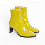Statement: 'Angulus'-Lackleder-Stiefel in Lime