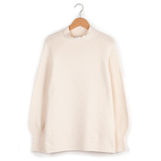 Pullover mit Stehkragen von 'Collectif mon Amour' in Offwhite oder Aubergine