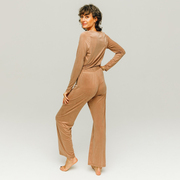 'Cupro High Waist Pants' in Mocca Latte