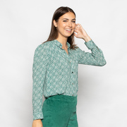 Bluse mit Retroappeal 'Melia' in Green/Offwhite