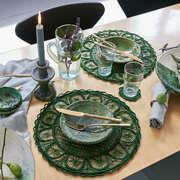 6er Set geflochtenes Tischset mit Glasuntersetzer