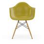 Vitra Eames Plastic Armchair DAW ohne Polster  Holzuntergestell Ahorn gelblich / 02,  Poppy Rot / 03,  Weisser Gleiter für Hartböden