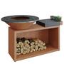 Ofyr Grill-Outdoorkücheninsel 'Cooking Unit Island' Ø: 98 cm - Ofyr 100, Corten-Stahl, Dunkelgraues Keramik